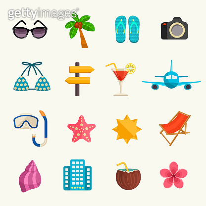 Summer vacation vector icons