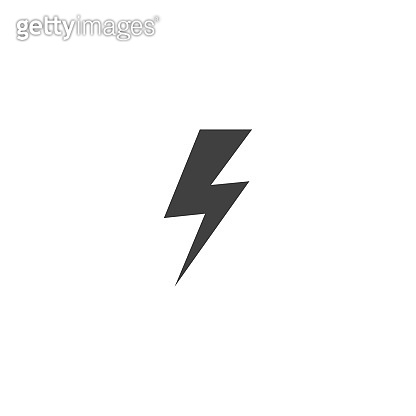 Lightning icon in black color on a white background