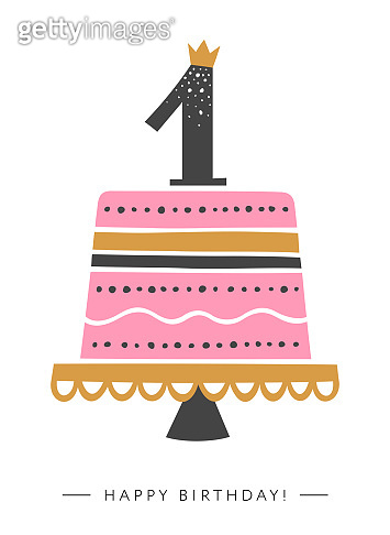 First Birthday greeting card design for baby girls