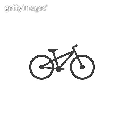 Bicycle icon in black color on a white background