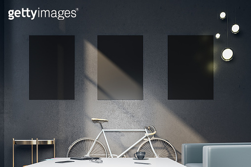 Minimalistic black hipster interior with bicycle