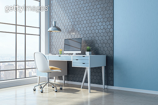 Modern workplace in home office