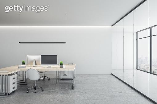 Minimalistic coworking office interior
