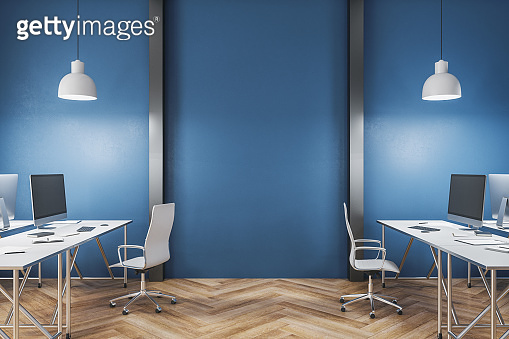 Minimalistic coworking office interior with furniture