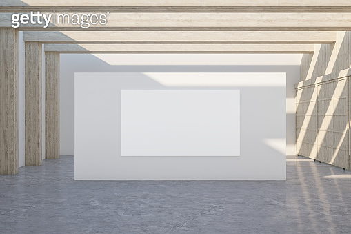 gallery interior with empty banner on wall a