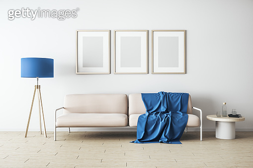 Modern white living room with  three blank banner
