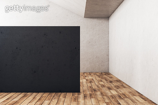Minimalistic gallery interior with empty black wall.