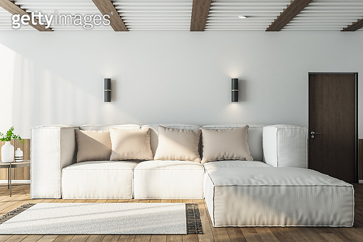 Living room interior with white sofa and blank wall.