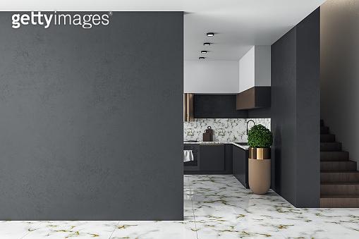 Clean kitchen studio interor and blank black wall.