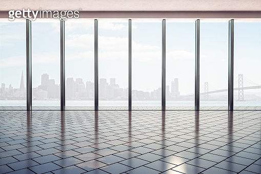Modern office hall with stylish floor, glass walls and smoky city view background at sunrise.
