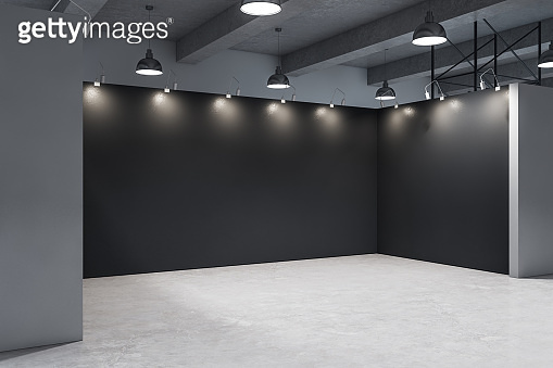 Minimalistic gallery interior with empty black wall