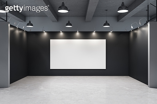Minimalistic gallery interior with empty banner