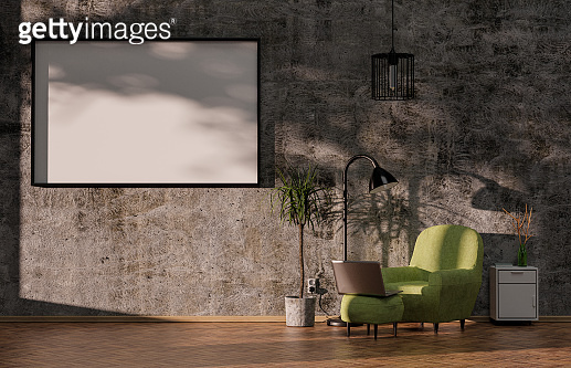 Picture template in the industrial living room with wooden parquet and green armchair