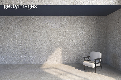 Minimalistic living room interior with blank concrete wall