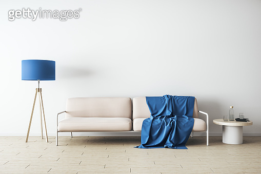 Minimalistic living room with sofa, lamp and copy space on wall