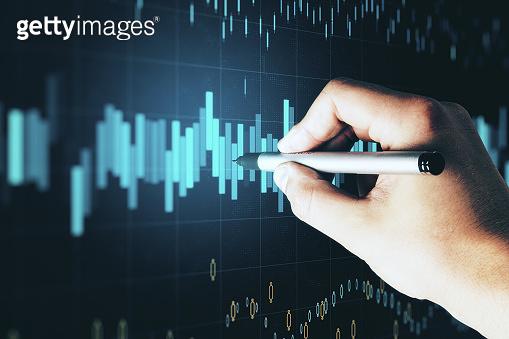 Hand drawing at stock chart