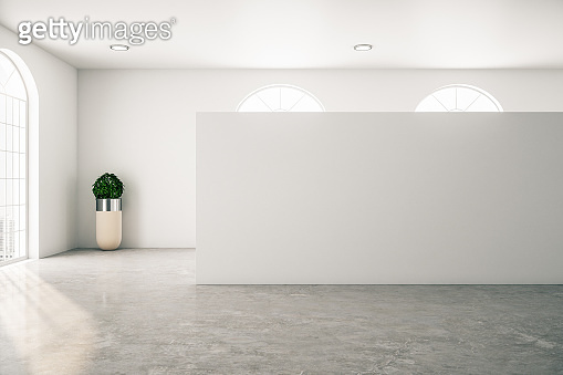 Gallery interior with empty wall