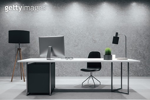 Contemporary workspace desktop with computer