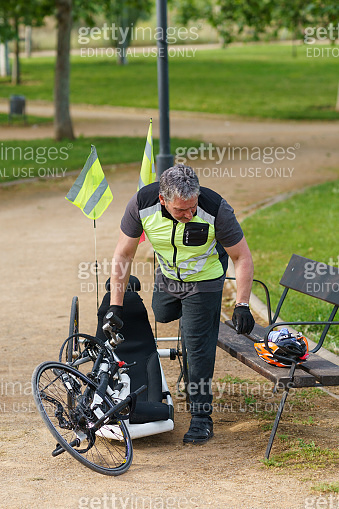 Man using handicapped bike for sport during Covid-19 pandemic