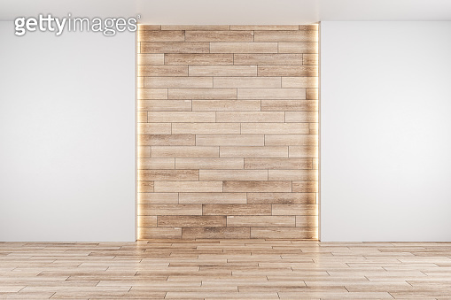 Hall interior and wooden wall with copyspace