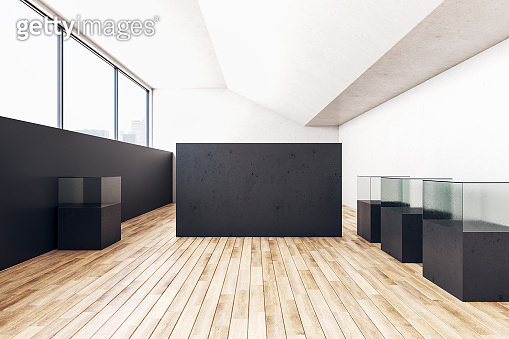 Modern exhibition interior with blank black wall