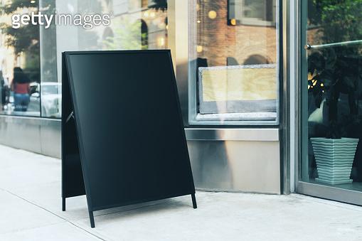 Black menu stand
