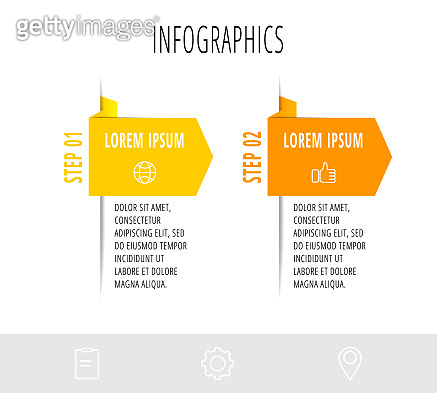 Infographics with 2 elements and arrows. Vector concept of two business options to choose from