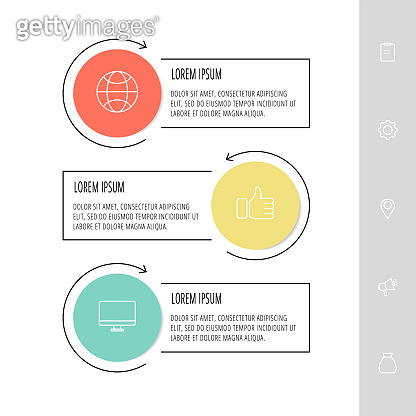 Vector flat template circle infographics. Business concept with 3 options and parts. Three steps for content, flowchart, presentation, graph, diagrams, slideshow