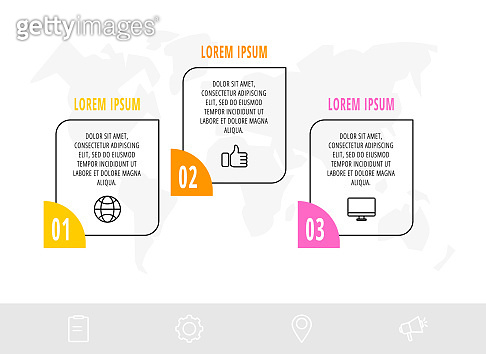 Timeline creative design linear infographics template. Business vector illustration with 3 options.