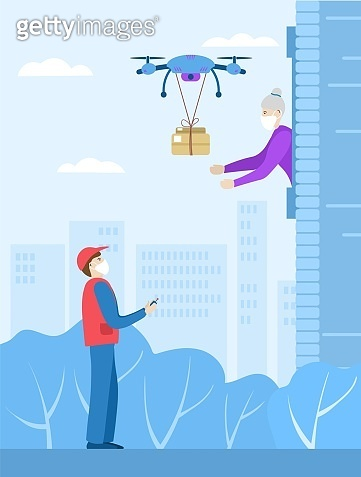Landing for the delivery service of an online store. Contactless online delivery. Safety during coronovirus. A drone delivers a box to an elderly woman. Managed by the delivery man. Vector