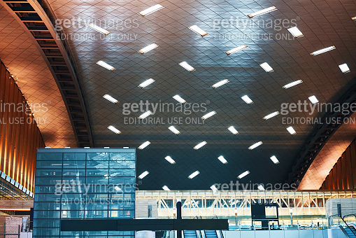 DOHA, QATAR - MARCH 27, 2020:  Abstract interior background of modern empty Hamad international airport
