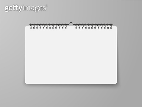 Blank wall calendar with soft shadow, with spiral.