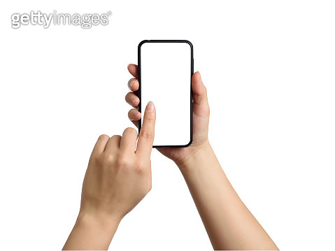 Woman touching the screen of smartphone. Isolated object on white