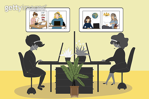 New normal lifestyle after the Coronavirus, People working independent in office and video conference online business meeting from home like an exchange rate, selling tour and Express  delivery