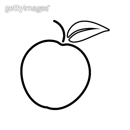 Apple vector icon outline style on white background