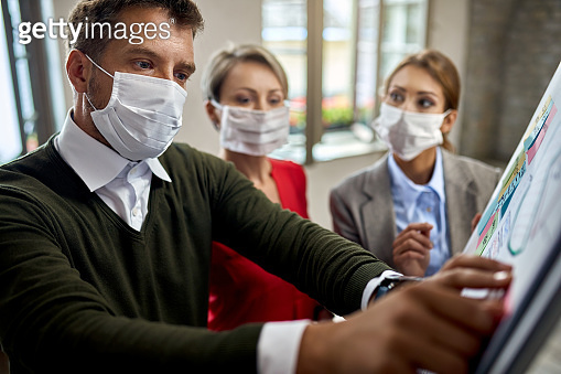 Businessman and his colleagues wearing face masks while planning a new project on a whiteboard.