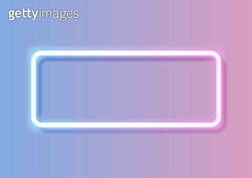 Blue pink rectangle frame abstract neon background