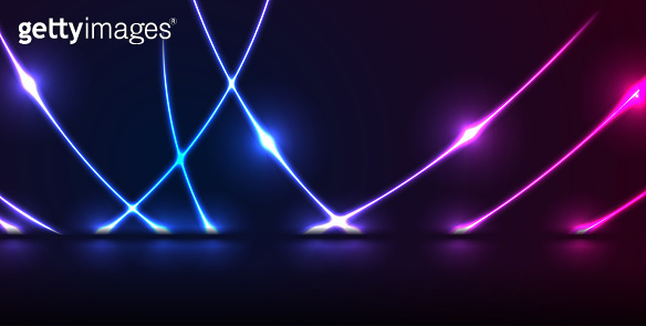 Blue purple neon laser curved lines technology modern background