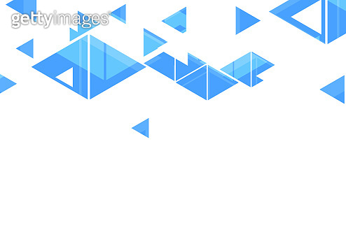 Blue triangles abstract geometric design