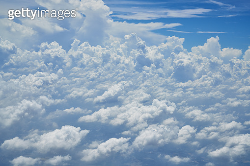 scenic of pattern of cloudscape with blue sky from aerial view