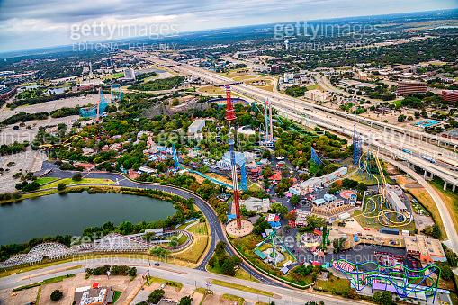 Six Flags Amusement Park Aerial