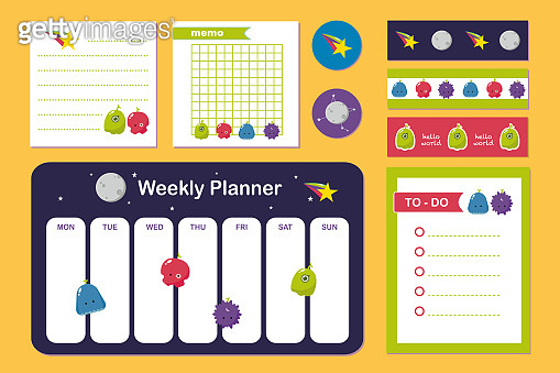 Set of cute alien momsters,sticker and sticky tape. Collection of weekly planner and notepad.