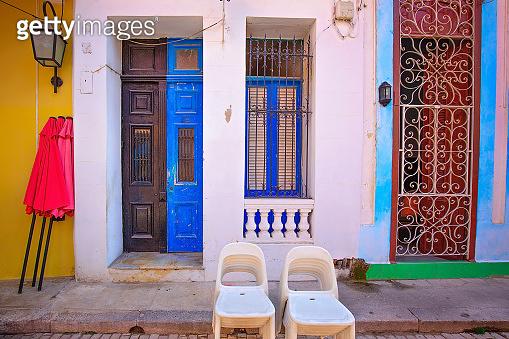 Scenic colorful Old Havana streets in historic city center (Havana Vieja)