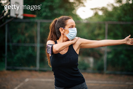 Woman is doing outdoors workout during quarantine