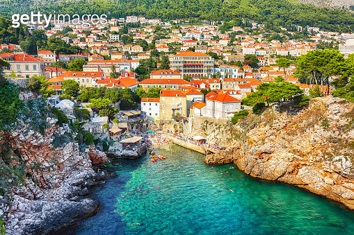 View at famous travel destination city of Dubrovnik - Fort Bokar and Fort Lovrijenac on a sunny day