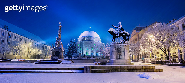 Szechenyi square with mosque in winter in Pecs, Hungary