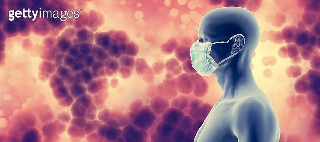 Man in face mask against coronavirus Covid19. Protection from Covid