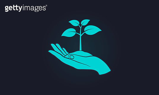 Ecology concept - plant with ground in hands. Hand holding young plant. Eco environment. Vector illustration