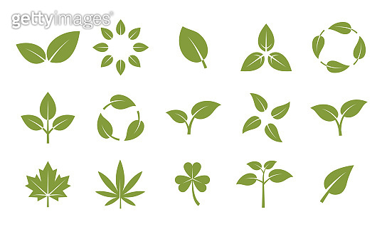 Vector set of ecology and nature icons. Logo, emblem, label design elements. Environment related icons set. Leaves, plants, ecology, nature, biodegradable, marijuana, clover.