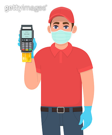 Delivery person or courier in mask and gloves showing credit card payment machine. Man holding POS terminal. Safety modern lifestyle. Corona virus epidemic outbreak. Digital payment shopping service.